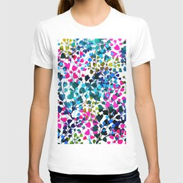 Biome, Dark Eclectic Watercolor Botanical Nature Bold Painting, Pop of Color Bohemian Illustration T-shirt