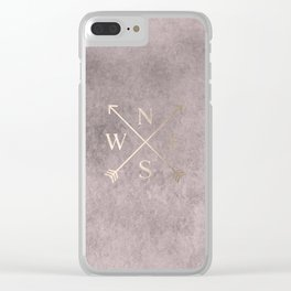 Gold on Pink Blush Distressed Compass Adventure Design Clear iPhone Case