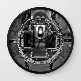 Prison Medical Ward Gate Cross - Black & White Wall Clock