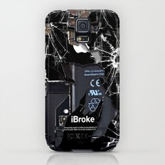Broken, rupture, damaged, cracked black apple iPhone 4 5 5s 5c, ipad, pillow case and tshirt Galaxy S5 Slim Case