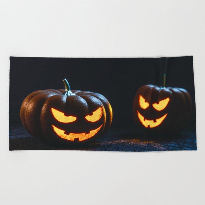 Halloween Pumpkin Lantern Beach Towel