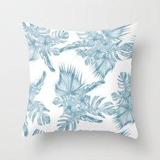 Palm Leaf Hibiscus Classic Blue + White Throw Pillow