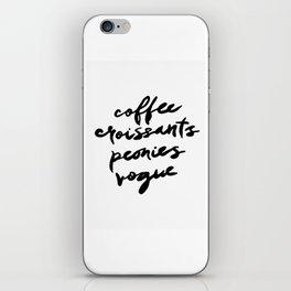 coffee croissants peonies iPhone Skin