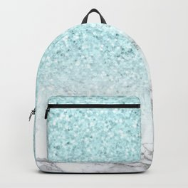 She Sparkles Turquoise Marble Luxe Geometric Backpack