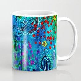 In Too Deep - Blue Abstract Flowers Coffee Mug