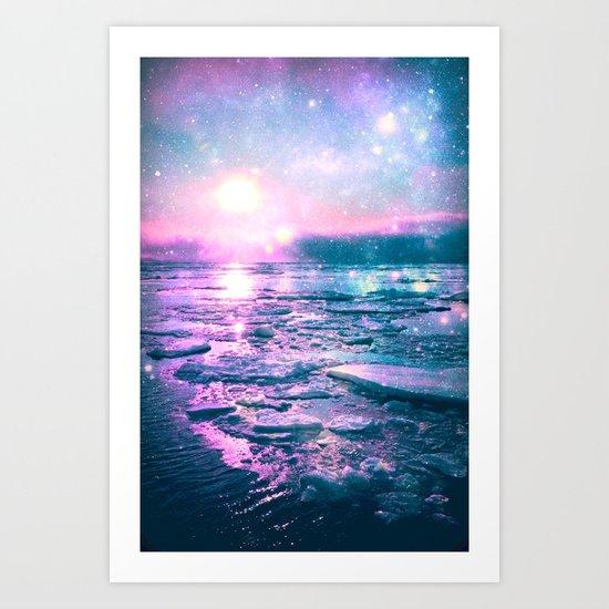 Mystic Waters Vibrant Pink Blue Lavender Art Print