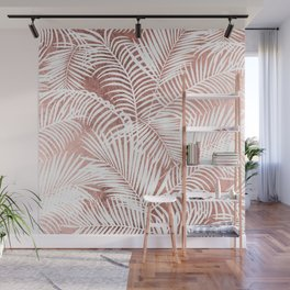 Modern elegant white faux rose gold palm tree Wall Mural