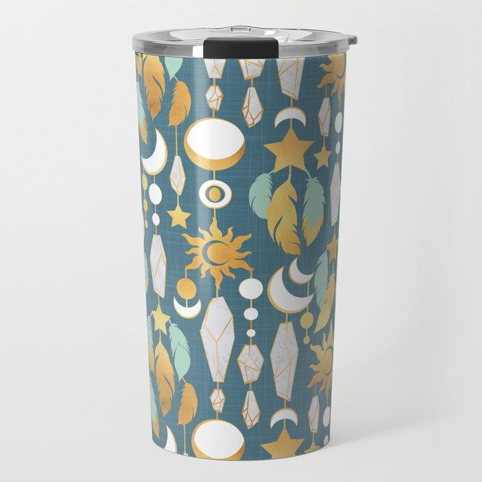 Bohemian spirit // dark turquoise background Travel Mug