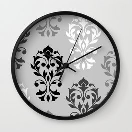 Heart Damask Art I Black White Greys Wall Clock