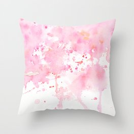 Watercolor Abstract Cherry Tree Pink Throw Pillow