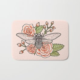Cicada with Roses - Pink Bath Mat