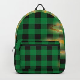 Golden Christmas Tree Buffalo Plaid Winter Xmas (green and black) Backpack