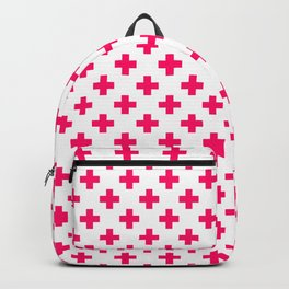 Hot Neon Pink Crosses on White Backpack