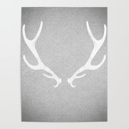 White & Grey Antlers Poster