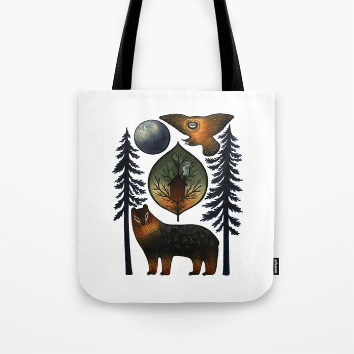 The Bear and the Barn Owl Tote Bag