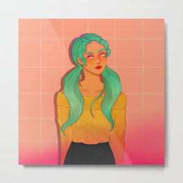 Mint Green Haired Soft Girl Metal Print
