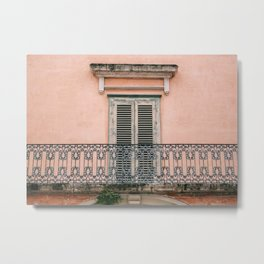 Old doors and balcony on a coral pink background in Italy Metal Print