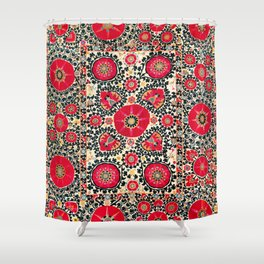 Shakhrisyabz Suzani Uzbek Embroidery Print Shower Curtain