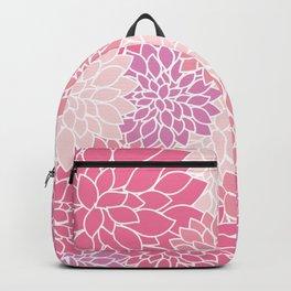 Dahlia Flowers, Petals, Blossoms - Pink Purple Backpack
