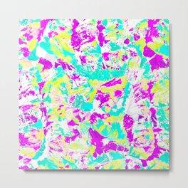 Artsy Modern Abstract Neon Acrylic Paint Splatter Metal Print