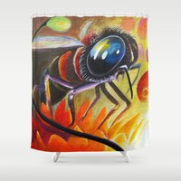 bee Shower Curtains featuring Bee by Brandon Heffron