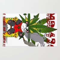 cannabis Area & Throw Rugs featuring TIMMY THE CANNABIS BEAR  by Timmy Ghee CBP/BMC Images  copy written