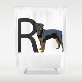 R is for Rottweiler Shower Curtain