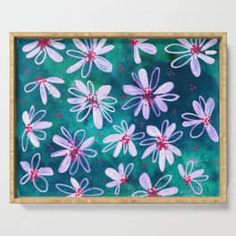Daisy Flowers | Whimsical Watercolor Daisies on Cyan BlueTeal Serving Tray