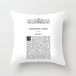 Northanger Abbey Jane Austen First Page Throw Pillow