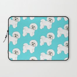 Bichon Frise on aqua / teal / cute dogs/ dog lovers gift Laptop Sleeve