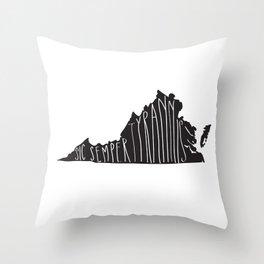 Virginia Motto - Black Throw Pillow