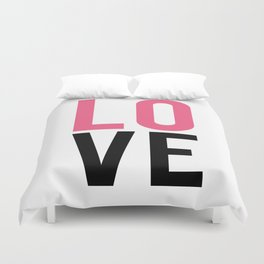 LOVE Block Quote Pink and Black Duvet Cover