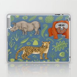 endangered animals, black rhino, amur leopard, bornean orangutan Laptop & iPad Skin