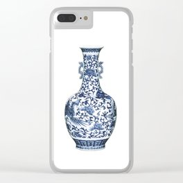 Blue & White Chinoiserie Porcelain Floral Vase with Flying Phoenix Clear iPhone Case