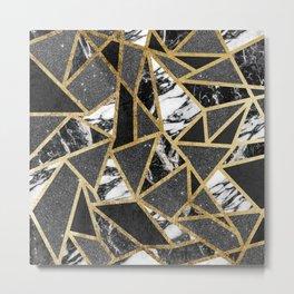 Modern Faux Gold Glitter Marble Geometric Triangle Metal Print