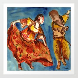 Watercolor Folklore dance Carimbo - joy and fun Art Print