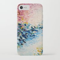 jazzberry iPhone & iPod Cases featuring PARADISE DREAMING Colorful Pastel Abstract Art Painting Textural Pink Blue Tropical Brushstrokes by EbiEmporium