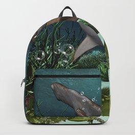 Awesome hammerhead in the deep ocean Backpack