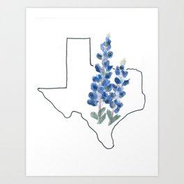 texas // watercolor bluebonnet state flower map Art Print