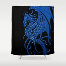 Flying Blue and Black Tribal Dragon Shower Curtain