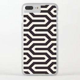 Black & White Geometric Pattern 70s Funky Style Glamorous Art Deco Pattern Clear iPhone Case