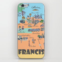 San Francisco Fine Art Print Retro Vintage Favorite Map with Touristic Highlights Active iPhone Skin