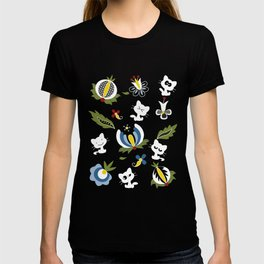 Cat with Ethnic Folk Flower T-shirt