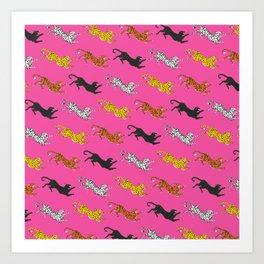 Pink Big Cat Pattern Art Print