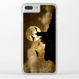 BATS FLYING AT FULL MOON Clear iPhone Case