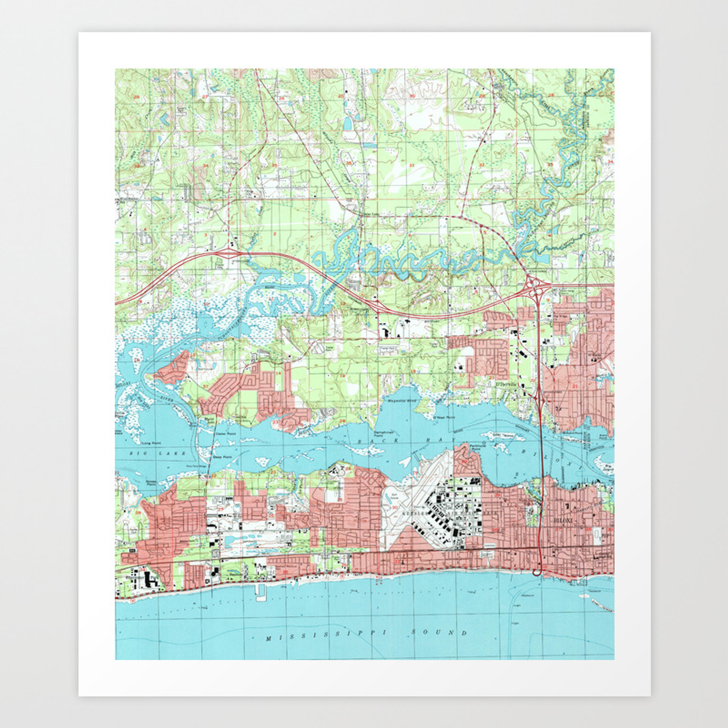 Biloxi Mississippi Map 1992 Art Print By Bravuramedia Society6