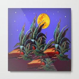 Desert Agaves Full Moon Purple Evening Landscape Metal Print