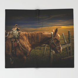 Saddle Horse on the Prairie Throw Blanket