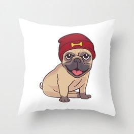 Illustration Dog Pug with cap Throw Pillow