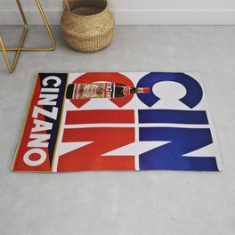 Vintage 'Cin Cin' Italian Cordial Cinzano Advertisement Poster Rug